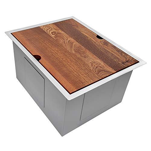Ruvati 15-inch Workstation Bar Prep Sink Ledge Undermount 16 Gauge Stainless Steel Single Bowl - RVH8304