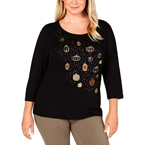 Price comparison product image Karen Scott Womens 3 / 4 Sleeves Glitter T-Shirt Black 2X