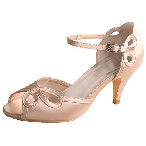 Mujeres Zapatos De Novia Peep Toe Tacón De Aguja Mary Jane Correa...
