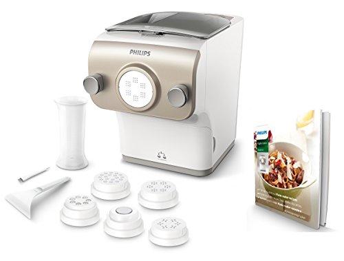 Philips Pastamaker HR2381/05 (vollautomatische Nudelmaschine, mit Wiegefunktion und 6 Formscheiben, 200W, 500g) weiß