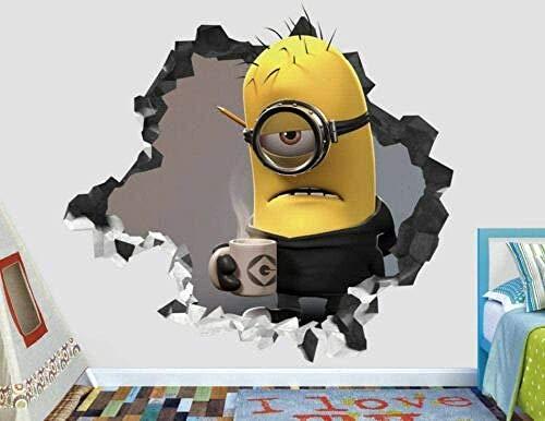 SJXWOL Cartoon Aufkleber Wandaufkleber Minions Kevin Kaffee Wandtattoo Dekoration Kids Smashed 3D Sticker Art Vinyl 55x60cm