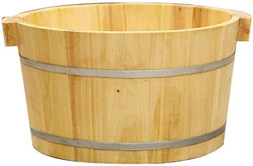 LJBXDCZ NJ staande badkuip voor volwassenen van natuurlijk hout voor rooklichaam, inweekte vaten, blokjes, voetmassage, 3,7 cm Houtkleur.