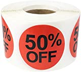 50% Percent Off Stickers for Retail 1.5 Inch 500 Adhesive Labels
