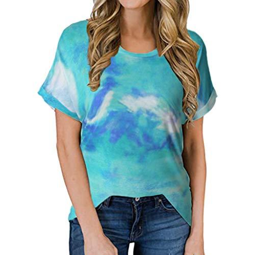 YinGTral Damen Kurzarm T-Shirt mit rundem Hals lässiger T-Shirt-Bluse mit Lockerem Oberteil