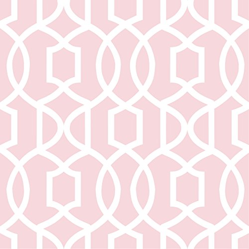 Wall Pops NU1420 Pink Grand Trellis Peel and Stick Wallpaper