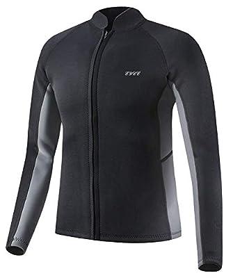 EYCE Dive & SAIL Men's 3mm Wetsuit Jacket Top Long Sleeve Neoprene Wetsuits (Black/Grey, Medium)
