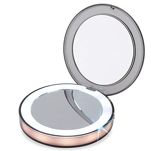 Miroirs de poche Dressing Mirror-LED Petit Miroir de Maquillage avec Une lumière chargeant trésor Pliant Femelle Portable Dressing Mini-Miroir (Color : Dark Pink, Size : 8.5 * 8.5 * 1.72cm)