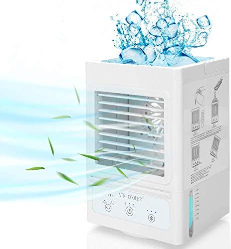 Mobile Klimaanlage ohne abluftschlauch 4 in 1 Air Cooler, Tragbares Luftkühler mit 3 Geschwindigkeiten, Kleine Klimageräte Leise Ventilator mit Wasserkühlung Luftbefeuchter für Zuhause&Büro