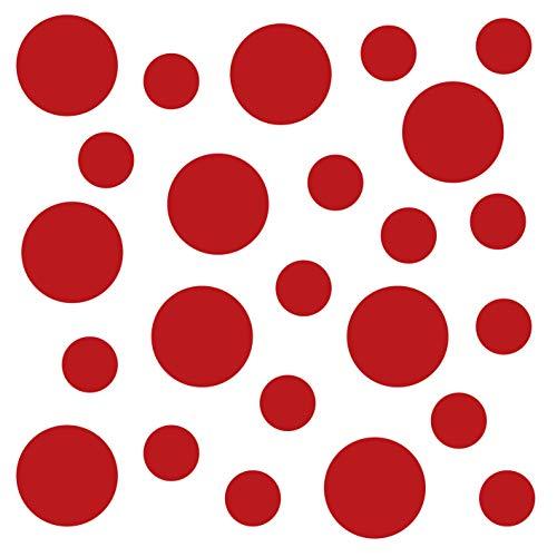 kleb-Drauf | 24 Punkte | Rot - matt | Autoaufkleber Autosticker Decal Aufkleber Sticker | Auto Car Motorrad Fahrrad Roller Bike | Deko Tuning Stickerbomb Styling Wrapping