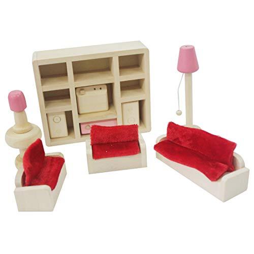Manooby Muebles de Madera Casa de Muñecas Set Habitaciones de Familia Gente Juguetes en miniatura Regalos para Niños(13 * 10.5cm #3)