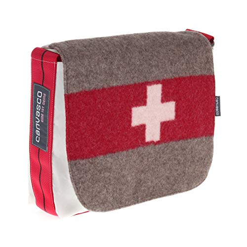 Segeltuchtasche CANVASCO Mini Suisse/Segel weiß/Gurt rot-schwarz/Armeedecke horizontal