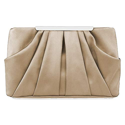 Womens Pleated Satin Evening Handbag Clutch With Detachable Chain Strap Wedding Cocktail Party Bag Women's Shoulder Handbags (Beige)