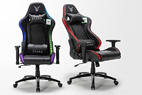 LED Light Ergonomic Racing Style RGB Gaming Chair with Lighting Remote, Lumbar Support, Adjustable Height and Arm Rests. Swivel Office/Conference Computer Desk PC Chair Black PU