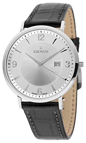 KRONOS - First Class Silver 971.105 - Reloj de Caballero de Cuarzo, Correa de Piel Negra, Color Esfera: Plateada