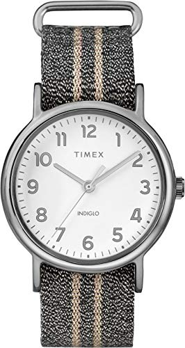Timex TW2R92200 Weekender Women's Analog Watch Grey Metallic Nylon Strap