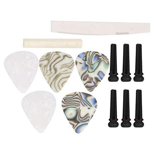 SALALIS Accesorios para Instrumentos Musicales, Instrumentos Musicales Duraderos 13 Piezas 13 Piezas Tuerca De Guitarra Y Pasador De Puente para Guitarras Eléctricas Guitarras Acústicas
