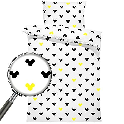 copripiumino lettino neonato - lenzuola letto singolo bambino, set copripiumino singolo cotone federa 40x60 cm (90 x 120 cm, Topi neri e gialli)