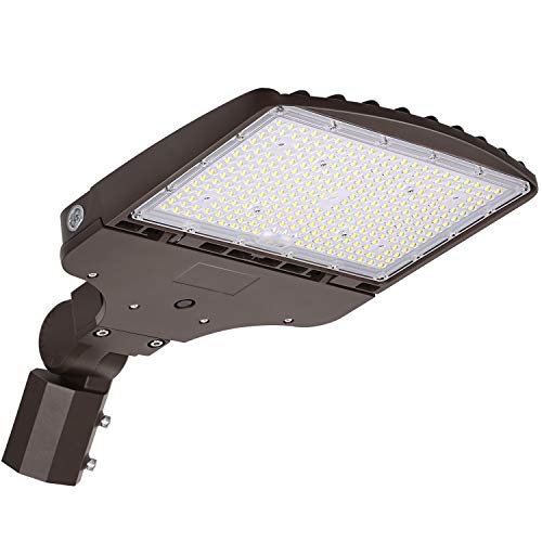 LED Parking Lot Lighting 200W, 27000LM (135LM/W) 5000K Daylight LED Parking Lot Lights with Dusk to Dawn Photocell,[750W HPS Equiv.] Adjustable LED Shoebox Area Light, Slip Fitter Mount