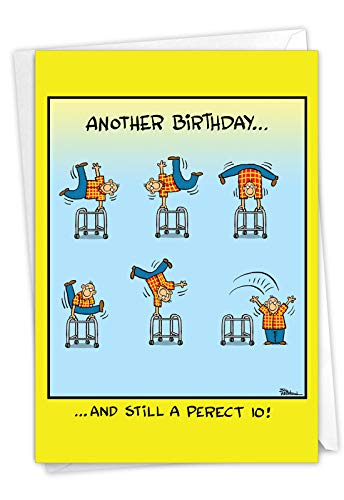 NobleWorks, Perfect 10 - Funny Happy Birthday Greeting Card for Elderly, Grandparents - Cartoon Bday Stationery Notecard for Men C7243BDG