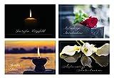 Merz Designkarten 4 Stück einfühlsame Premium-Trauerkarten/Beileidskarten im Set mit 4 Briefkuverts - Anteilnahme Trauerkarte, Spruch