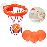 NATUCE Juguetes de baño,Mini Baloncesto aro Set & 3 Pelota con Ventosa Fuerte Interior al Aire Libre, Regalos para Bebé Niños Niñas