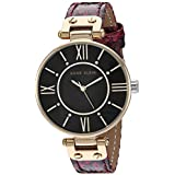 Anne Klein Women's Swarovski Crystal Accented Gold-Tone and Burgundy Snake Patterned Vegan Leather Strap Watch, AK/3228BKBY
