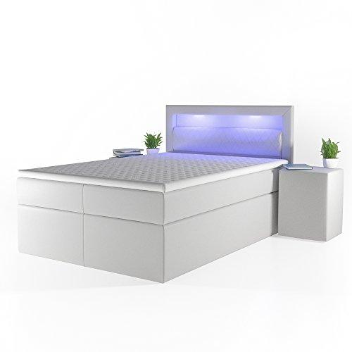 OSKAR Design Boxspringbett LED Doppelbett Bett Hotelbett Ehebett 140x200 cm weiß