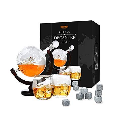 Toys4Boys Ensemble carafe à whisky en verre 850 ml – 2 verres à whisky avec 9 pierres à whisky – Boule du monde avec bateau – Coffret cadeau – Alcool Cadeaux pour homme, père, frère