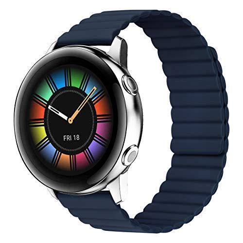 MroTech Compatible con Samsung Galaxy Active/Active2 40mm/44mm/Galaxy Watch 3 41mm/Galaxy 42mm Correa 20mm Silicona Pulseras Repuesto para Huawei Watch GT 2 42 mm Banda Hebilla Magnética-midnight Azul