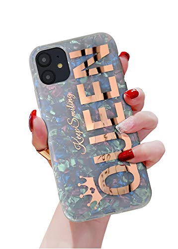 "KITATA Glitter Sparkling Case for iPhone 12 / iPhone 12 Pro Women Girls Rose Gold Queen Girly Design, Soft TPU Protective Sparkle Slim Cover Cute Pearly Shell Colorful Iridescent 6.1"" (2020)"