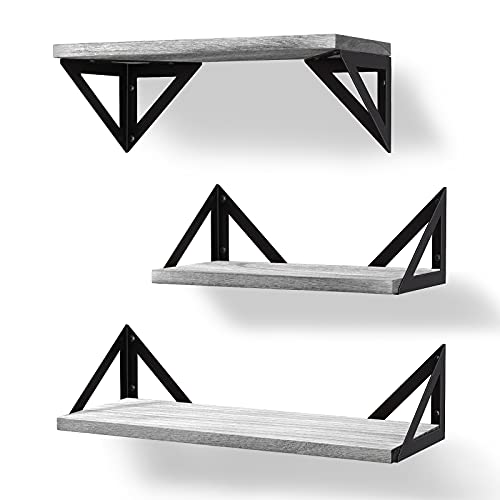 BAYKA Floating Shelves Wall Shelf Mounted, Decorative Rustic Wood Hanging Shelving Set of 3 for Bedroom, Kitchen, Bathroom, Living Room, Weight Bearing Shelves for Cats, Pictures, Towels, Accessories