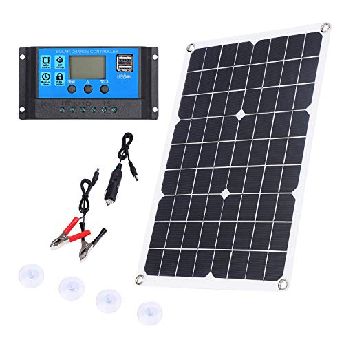 Camisin 100W Panneau Solaire 12V Chargeur de Batterie Kit 50A Contr?Leur pour Caravane Van Bateau Double USB