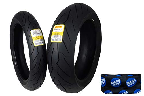 Pirelli Diablo Rosso III Front & Rear Street Sport Motorcycle Tires Rosso Three Rosso 3 (120/70ZR17 190/55ZR17)