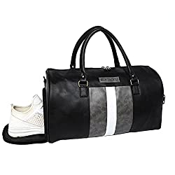 Fur Jaden Weekender Duffle Bag for Travel for Men and Women Made of Premium Leatherette with Attachable Shoulder Strap (Black),FUR JADEN