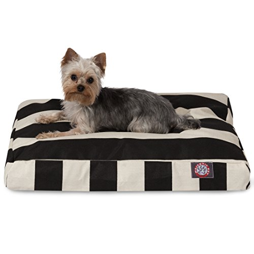 Black Vertical Stripe Small Rectangle Indoor Outdoor Pet Dog Bed