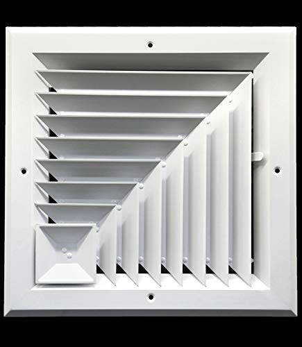 8 x 8 (in) HVAC Vent Cover - Corner Aluminum Bar Ceiling Diffuser - with Opposing Dampers Via Lever Control [Outer Dimensions: 11' Width, 11' Height]