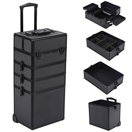 Ridgeyard 4 in 1 Universal Large Aluminium Beauty Case Makeup Cosmetic Rolling Case Trolley Trunk Vanity Professional Portable Travel Organizer Box (All Black)
