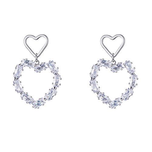 Empty Oorstekers voor dames, met hartvormige hangers, 925 sterling zilver, dubbele hartjes, sieraad