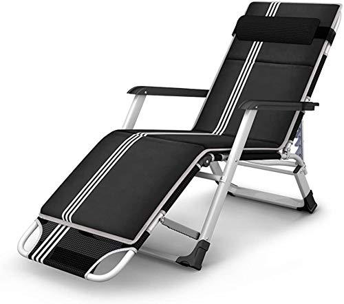 TataYang Sillas plegables multifuncionales, sillas de oficina siesta silla sillón portátil al aire libre sillas de jardín sillas de verano sillas de playa plegable cama cojines extraíbles, negro