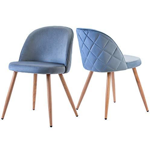 ModernLuxe 2er Set Esszimmerstühle Samt Vintager Retro Sessel Polstersessel Sitzkomfort Küchenstühle Lounge Sessel Clubsessel Fernsehsessel Sitzhöhe 37cm (Blau)