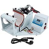 Jarchii Máquina de impresión, 350W Impresora Digital multifunción Taza de sublimación Máquina de Transferencia de Prensa de Calor con Cable de alimentación para Camiseta con Tapa de Placa d