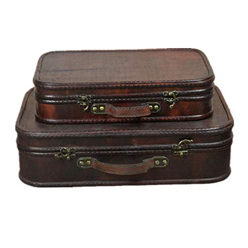 トランクケース アンティーク調 ジュエリー収納、ヴィンテージストレージのために2宝箱木箱ヴィンテージスーツケースのセット 収納トランク (色 : 褐色, Size : Large+small)