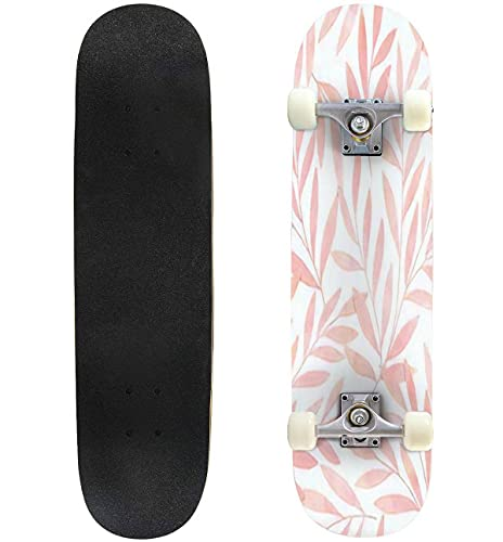 """Seamless Watercolor Botanical Pattern Digitally Hand Painting Floral Skateboard 31""""x8"""" Double-Warped Skateboards Outdoor Street Sports Skateboard for Beginners Professionals Cool Adult Teen Gifts"""