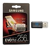 Samsung 256 Go Micro SDXC Evo Plus (Mb-mc256ga) Bundle Class 10 UHS-1 Fonctionne avec Samsung Galaxy Note 9, S9, S9 +, S8, S7 Edge téléphone portable