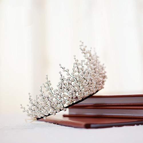 XKMY Nueva novia hecha a mano con cuentas corona maquillaje modelado tocado...