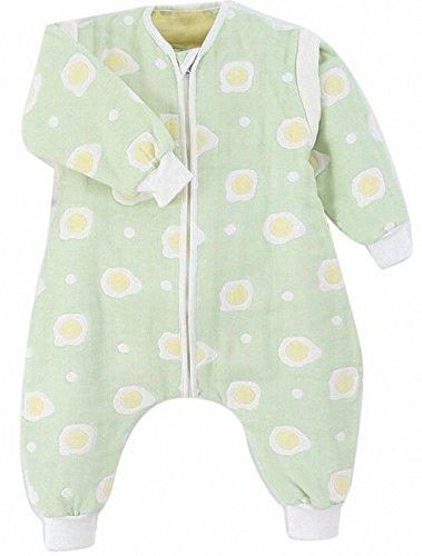 baby schlafsack ganzjahres mädchen junge neugeboren schlafanzug baumwolle 4jahreszeiten mit fussen,bio gestreift Gaze. (M:80cm(6-18Monate), Grün Eier)