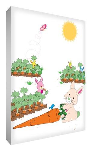Little Helper BUN128-12G Feel Good Art Tableau décoratif Impression sur toile de lin épaisse Style moderne Motif monsieur lapin dans son jardin 30 x 20 cm