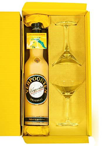 Eierlikör-Geschenkset im attraktiven Präsentkarton mit einer 0,7 L Flasche VERPOORTEN ORIGINAL und 2 Cocktail Schalen