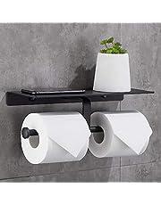 Gricol Dubbele toiletpapierhouder met ruime plank, toiletrolhouder