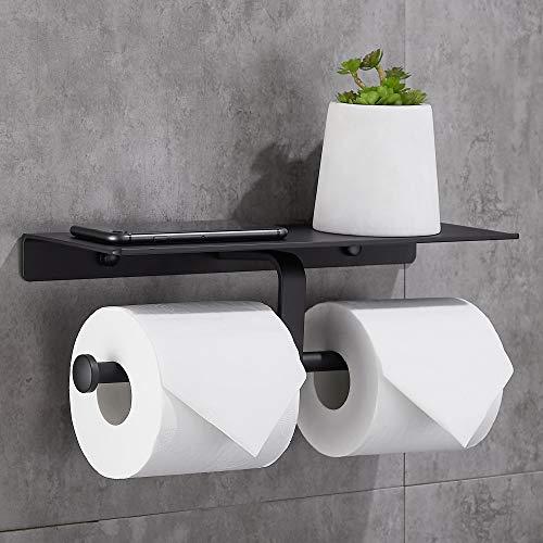 Gricol Toilettenpapierhalter mit Handyhalter Ohne Bohren Wandhalterung Doppelter Rollenhalter Klopapierhalter für Badezimmer (Schwarz)